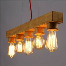 Hot Sell Modern Natural Wooden Decoration Coco Pendant Lighting With Metal Shade Chandelier
