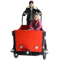 CE Danish bakfiets family 3 wheel cargo electric pedicab rickshaw trike with pedal sensor
