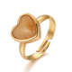 Heart shape fashion 24k gold plated boho natural gemstone adjustable diamond engagement rings jewelry womens