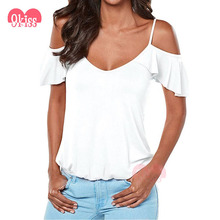Top Selling Products 2017 Lady Top Off the Shoulder White T-shirt