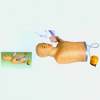 Male half body medical pneumothorax treating model