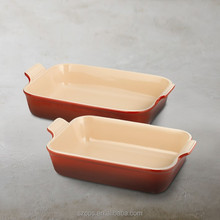 Professional design decorative Stoneware Rectangular Bakers, Set of 2