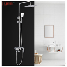 Fyeer Stainless Steel Rainfall Exposed Wall Mounted Shower Faucet with Sliding Bar