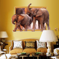 3D African Elephant wall stickers 3D Fake Window Decals DIY Removable Cartoon Wall decal
