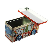 Customized Designed Bus Shape Toy Coin Bank Cash Saving Tin Box For Kids