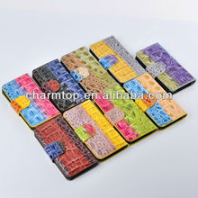 Multi Color Crocodile Leather Wallet Case For iPhone 5C