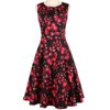 New fashion elegant floral rose printed rockabilly swing casual party dress for women