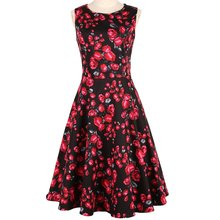 New fashion elegant floral rose printed rockabilly swing casual party <strong>dress</strong> for women
