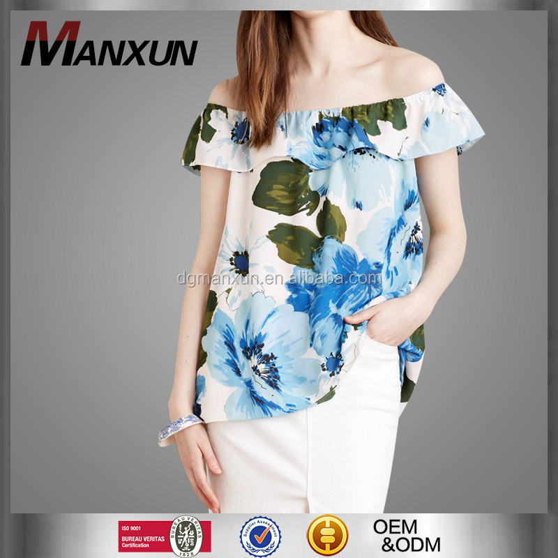 High Quality Off Shoulder Top Floral Printing Tube Top New Fashion Office Skirts and Blouses for Women