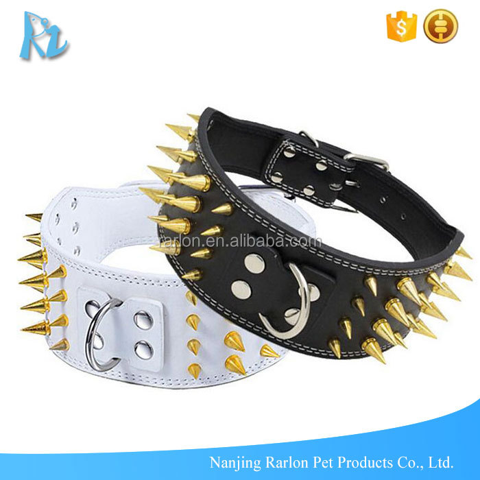 Tops Pet Products Punk Style 4 Rows Gold Spike Dog Collars Pitbull