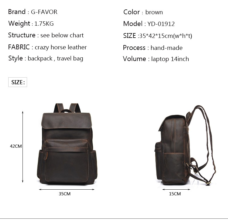 YD-01912 Wholesale design style Vintage genuine crazy horse leather backpack
