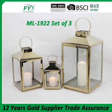 Golden stailess steel lantern with brass color and glass panels ML-1922 set of 3