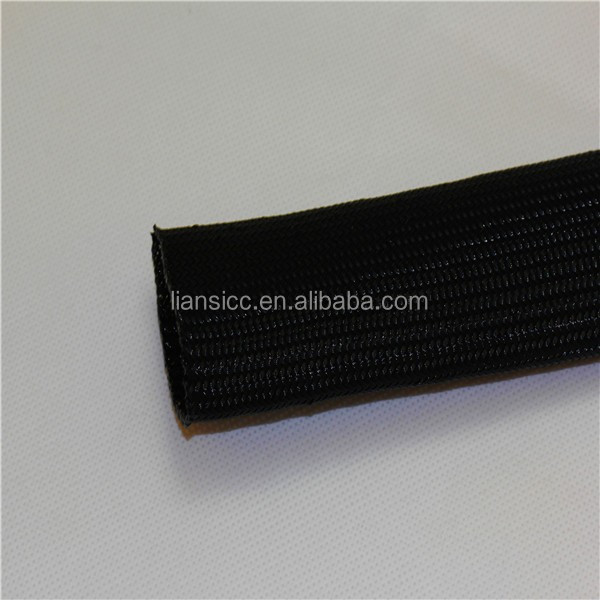 Liansi Black 15mm flexo PET braided expandable cable sleeves