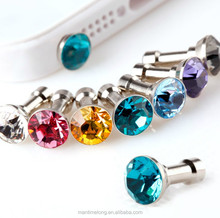 Crystal diamond phone plug earphone plug