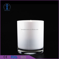 wholesale hand made white and black candle with glass jar