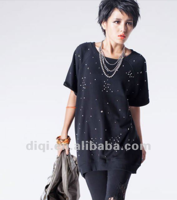 ladies t shirt for 2013 summer fashinon Pearl Acryl diamond