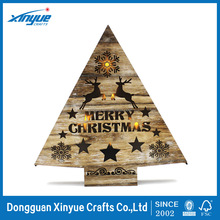 burn colors and vintage ,Large Lighted Wooden triangle christmas tree With Laser-Cut deer and snowflake Design