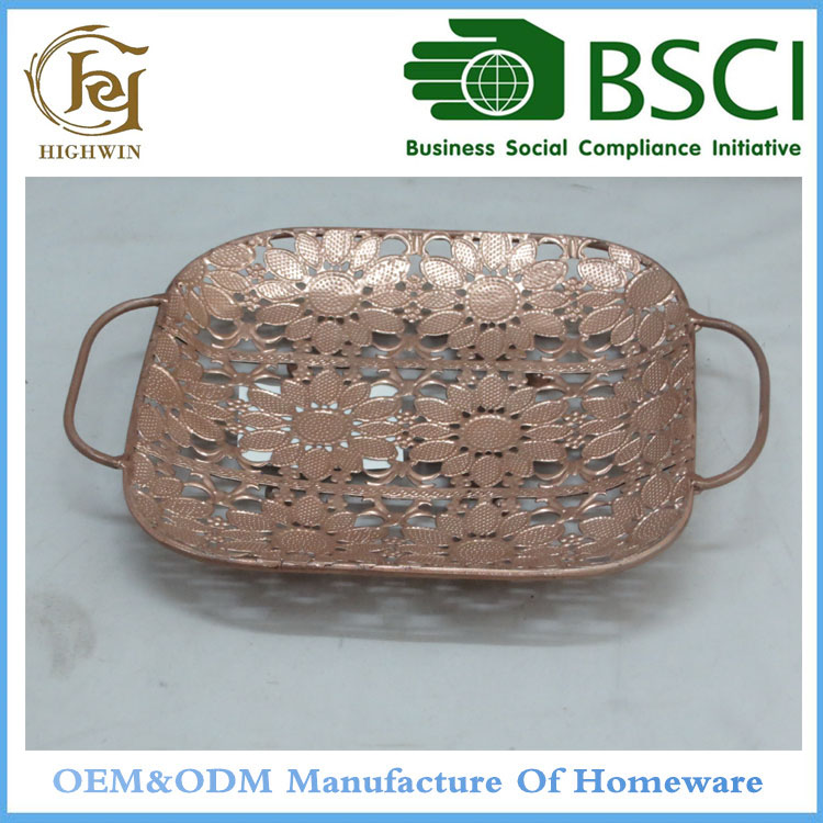 Rose Golden color mini handle serving Trays free sample