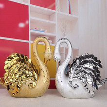 couple swan figurines show you perfect love/ceramic double swan like the heart
