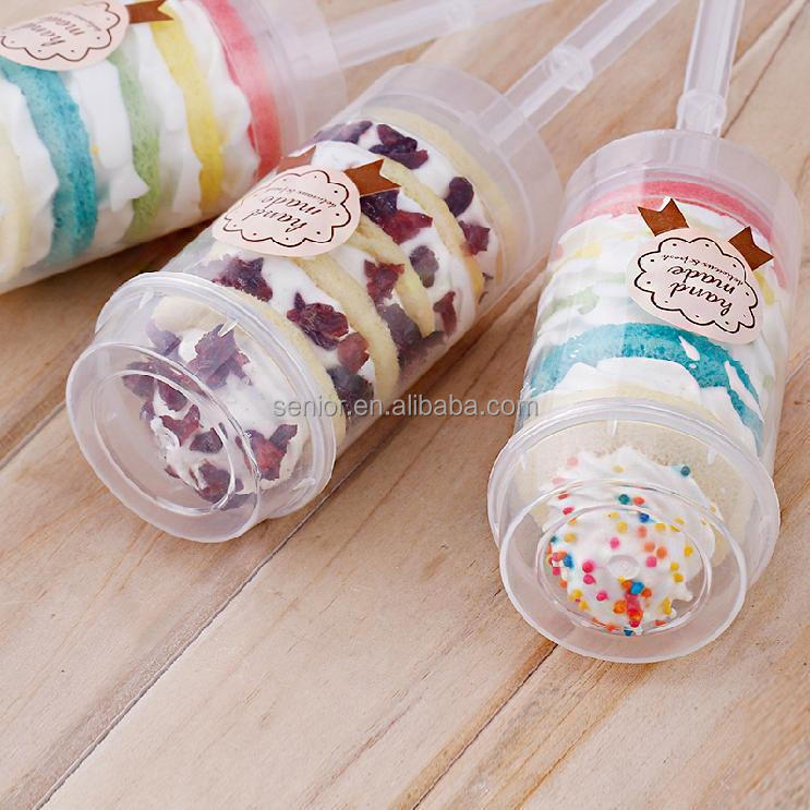 food safe plastic cup cake push up pop containers hart shape/plum flower shape/rund shape