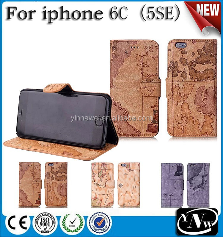 for iphone 6c Map Design Leather Flip Wallet Style & Hard Plastic Back Case Cover