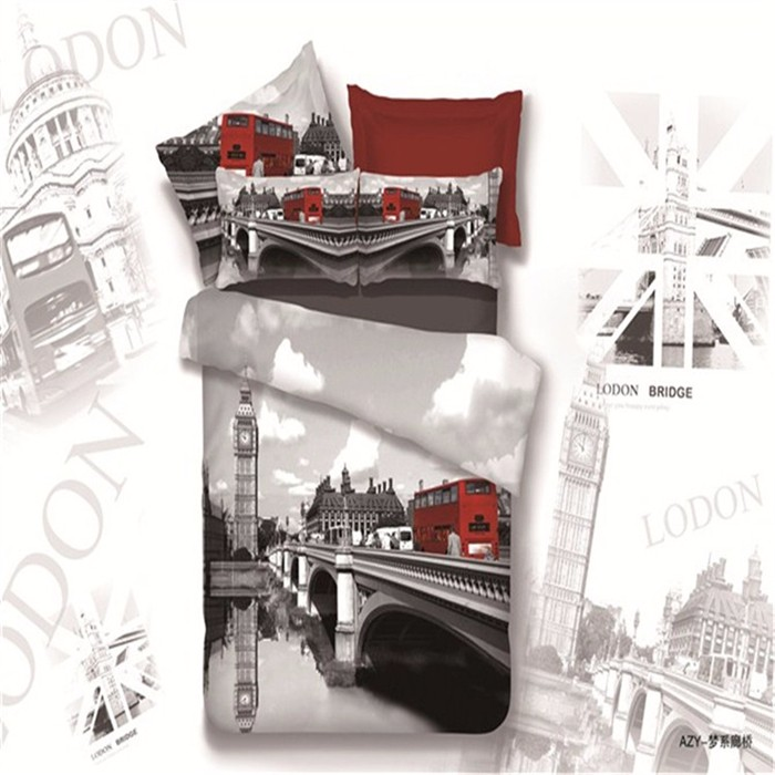 Big Ben Theme Contemporary Bedding Set With Towel Pillow Case