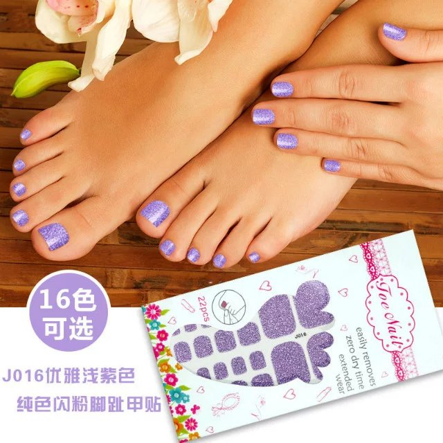 3D glitter powder toe nail sticker