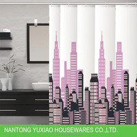 Home use and good quality bath city print elegant plastic fabric peva shower curtain