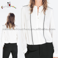Latest Fashion Stand Collar White Ladies Long Sleeve Blouses