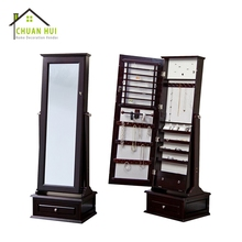 High quality black wood mirror jewelry cabinet