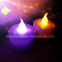 hot sale battery operated flickery flameless plastic color changing led tealight candle
