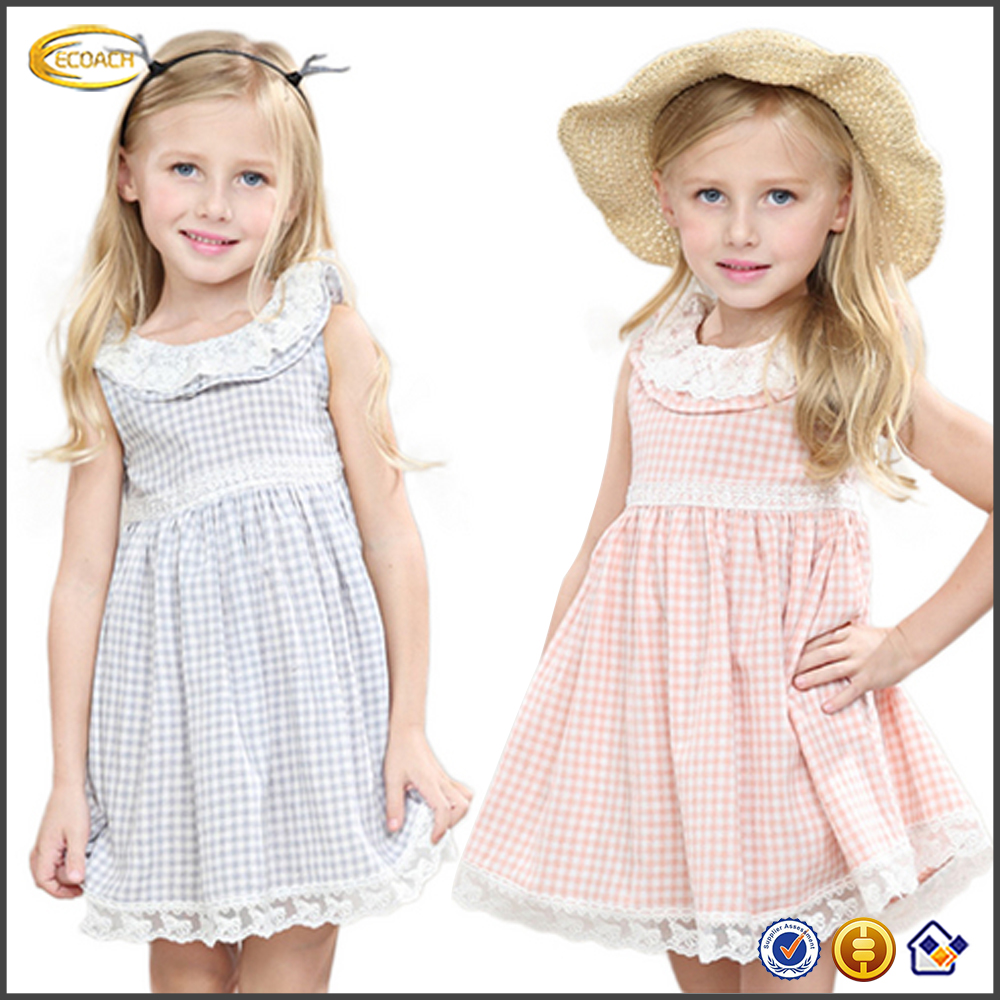 2016 top quality children lace patterns sleeveless checked patchwork buttons back one piece baby girl dress