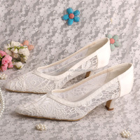 Lace Wedding Shoes Low Heel Pointed Toe