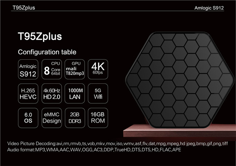 tv box manufacturer Amlogic S912 T95Z Plus tv box 2gb 16gb tv box android 4k