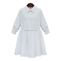 Wholesale 100% cotton comfortable pure white summer women's dresses