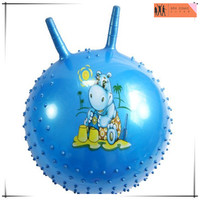plastic knobby bouncy ball with handle hop ball,custom PVC plastic bouncy hopper ball,OEM hopper inflatable ball China factory