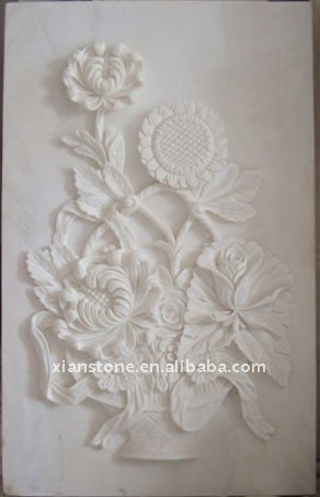 white marble flower plaque