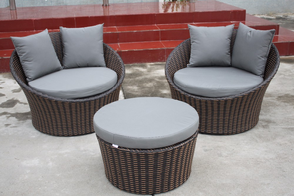 Posh leisure living round sofa natural wicker garden furniture