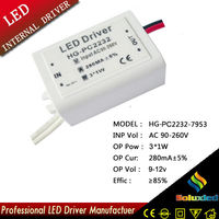 3x1w led ceiling light driver