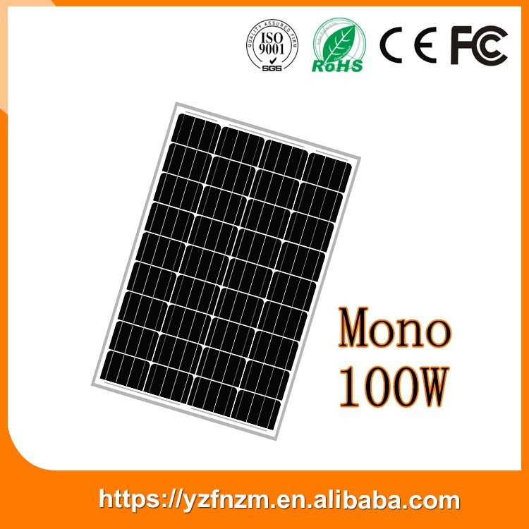 factory 156*156mm monocrystalline silicone solar panel 100W pv module big discount made in china