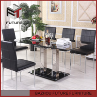 modern glass top stainless steel frame dining table
