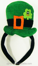 St. Patrick's Day Lucky 4 Leaf Clover Hat with Hair bands
