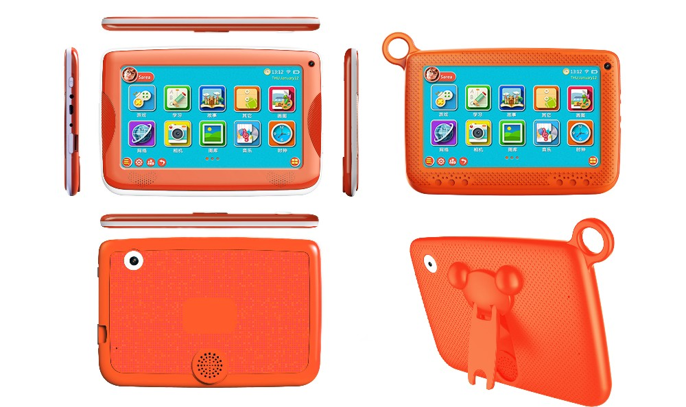 Hot Selling2017 Cheapest HD Touch Screen Tablet For Kids, Little cute bear holder Dual-Core Kids Tablet Pc