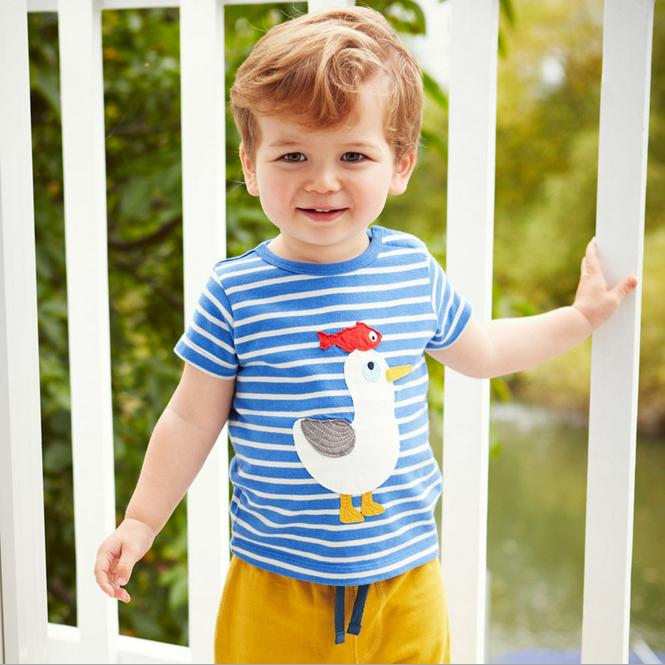 Wholesale boys short sleeves blue white striped 100%cotton t-shirts (18T/2T/3T/4T/5T/6T)