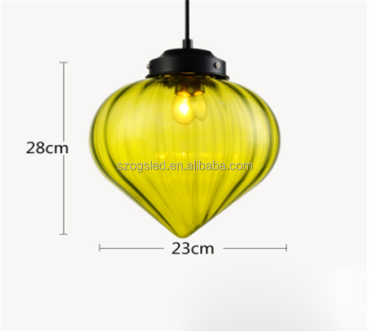Cheap Price Contemporary indoor loft glass lantern pendant chandelier Peach Shape Iron Glass Pendant lamp