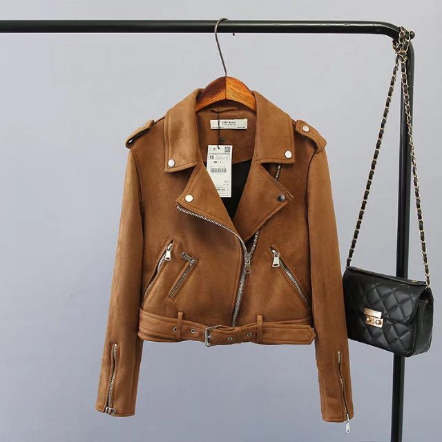 New Fashion Women Brown Leather Suede Jacket