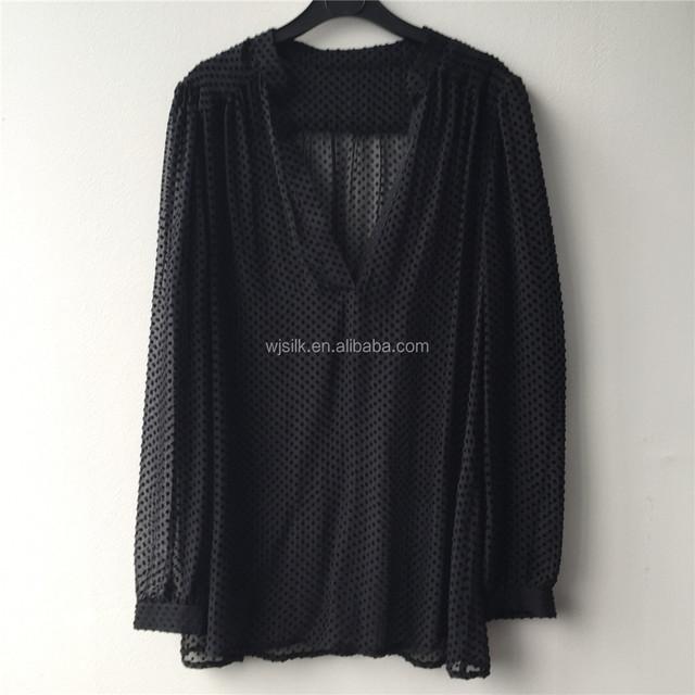 Nylon Burnout Velvet Open Neck Transparent Blouse for Women with high Quality