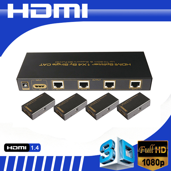 HDMI UTP Splitter 1x4 over single cat5e/6 cable work with HDMI Extender 60m support 3D resolution up to HD1080P@60hz