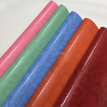 Snake skin emboss PVC simili leather for handbags ,with shining surface