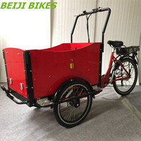 pedal assisted family 3 wheel motorized electric Dutch cargo bicycle